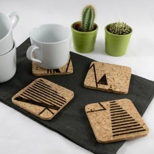 Triangle Tree Coaster Design – Aardwolf Design – Cork Coasters Set of 4