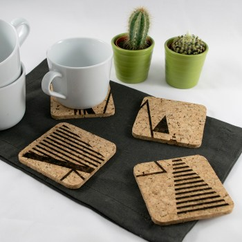 Triangle Tree Coaster Design - Aardwolf Design - Cork Coasters Set of 4