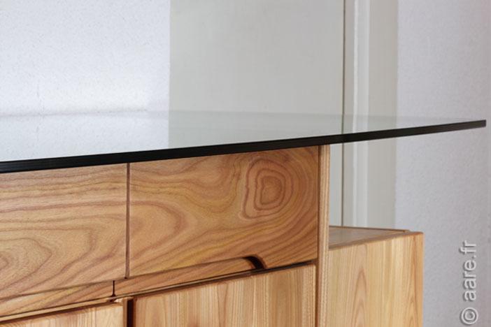bahut artemis 4 portes 2 tiroirs plateau verre