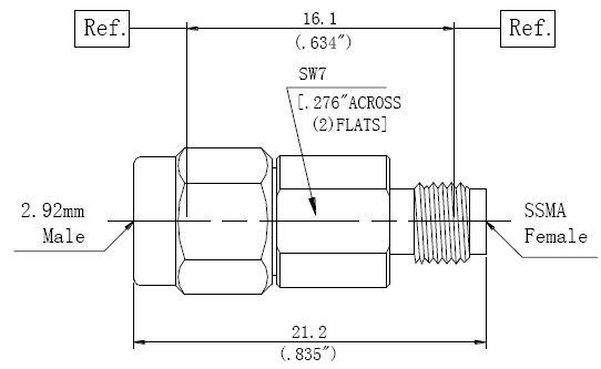 RF Precision Adapter 2.92mm Male to SSMA Female DC-40GHz