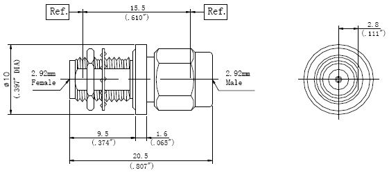 RF Precision Adapter 2.92mm Male to 2.92mm Female DC-40GHz