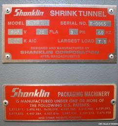 used shanklin model t 7h shrink tunnel [ 999 x 985 Pixel ]