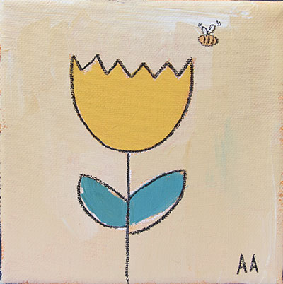 """Tulip and the Bee 5""""x5"""""""