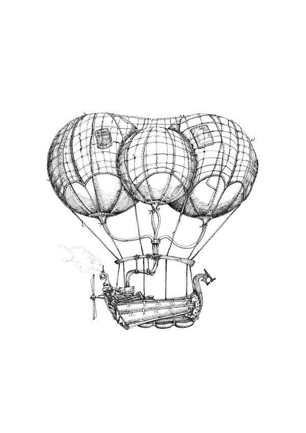 Steam Airship Drawings available as Limited Edition Prints