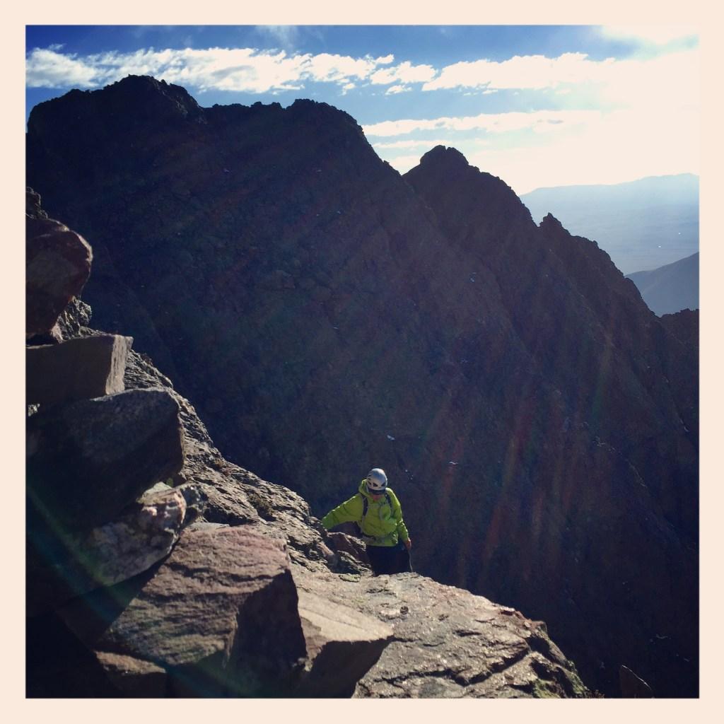 Ray Cameron on the summit ledges of Cretonne Peak