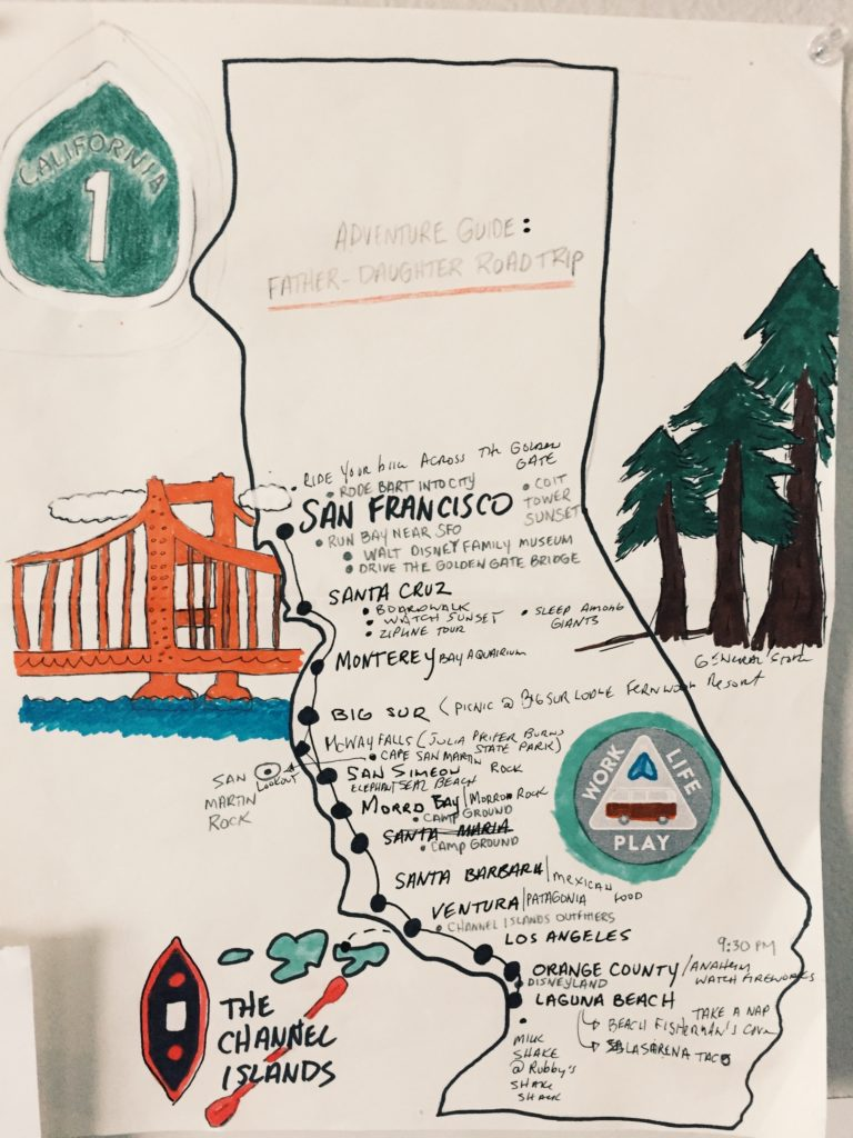 Father daughter California road trip LA to San Francisco custom map