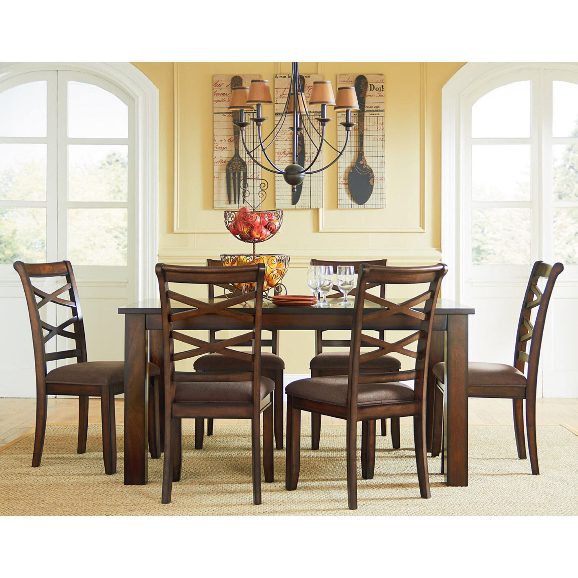 where to rent tables and chairs oval back dining chair slipcovers own room sets aaron s 7 piece redondo collection