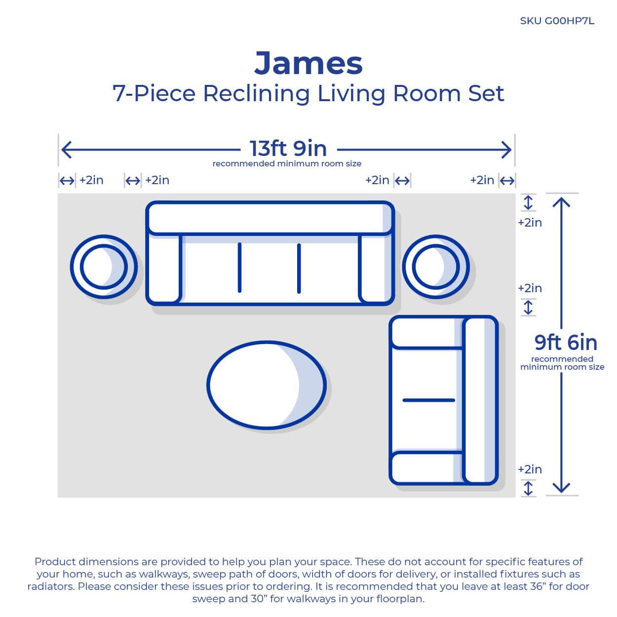 medium resolution of 7 piece james reclining living room collection