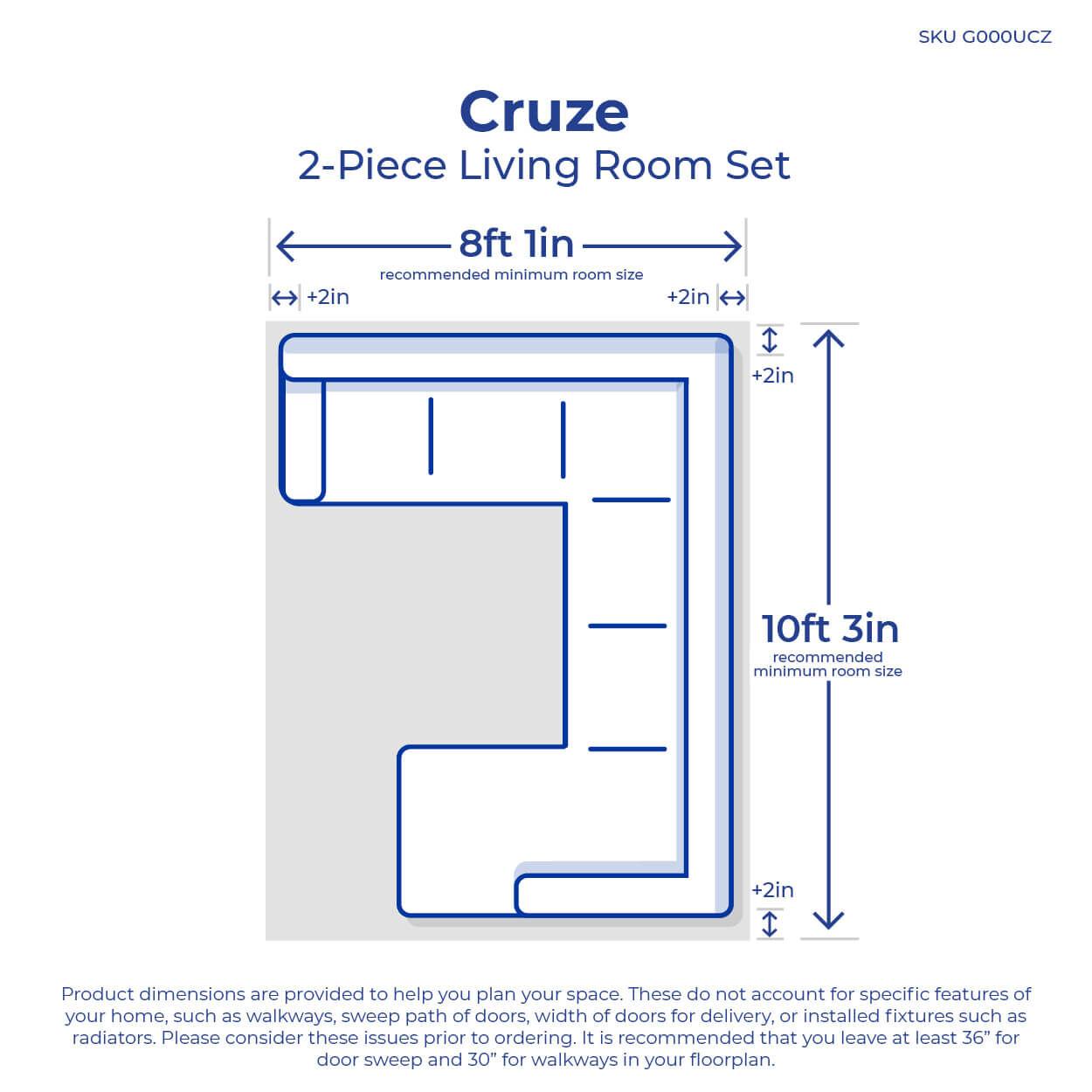 2 piece cruze living room collection [ 1000 x 1000 Pixel ]