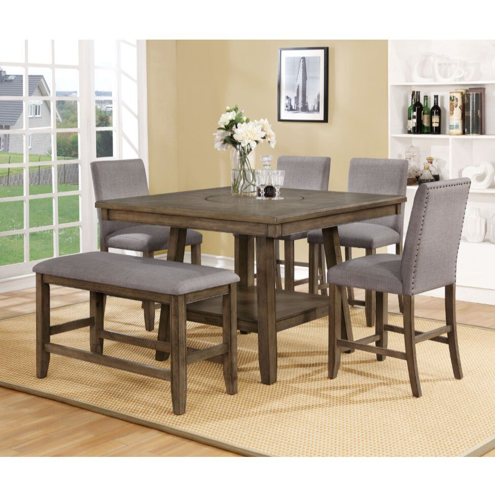 Rent To Own Crown Mark Inc 6 Piece Manning Grey Counter Height Dining Set At Aaron S Today