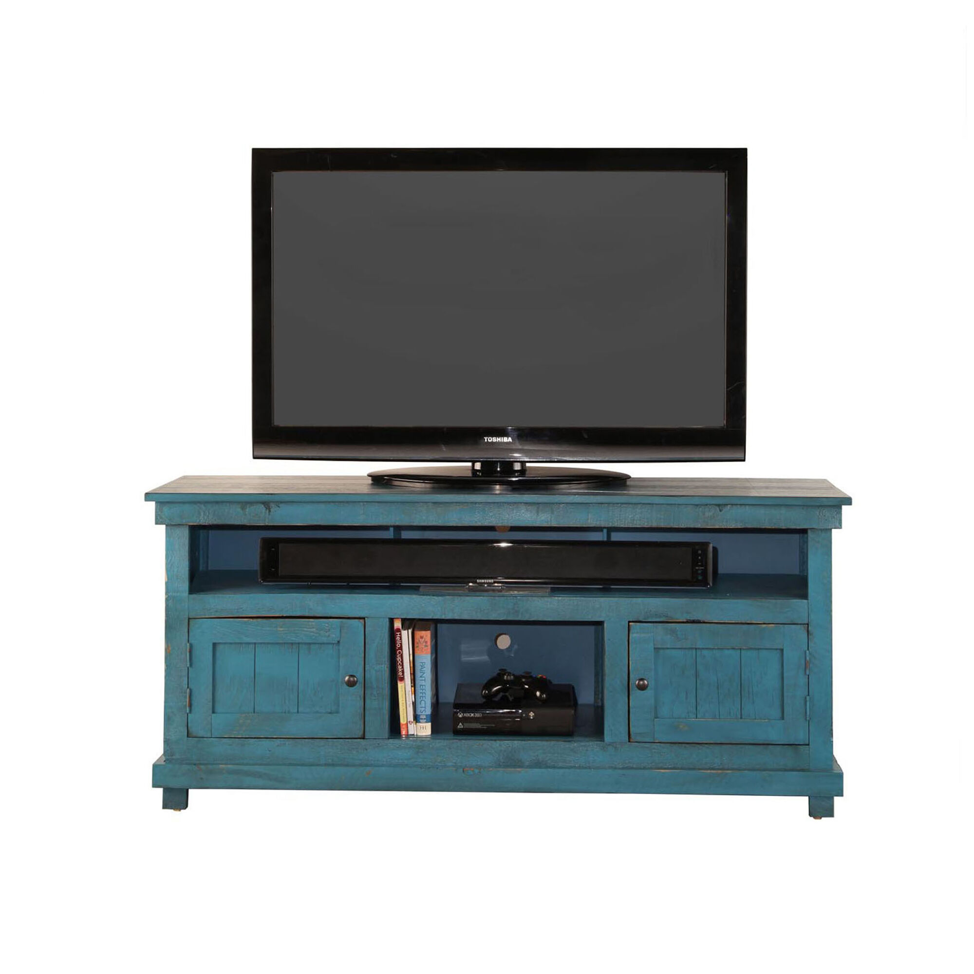 Whalen TV Stands  Entertainment Centers 60 Rustic TV Stand  Blue