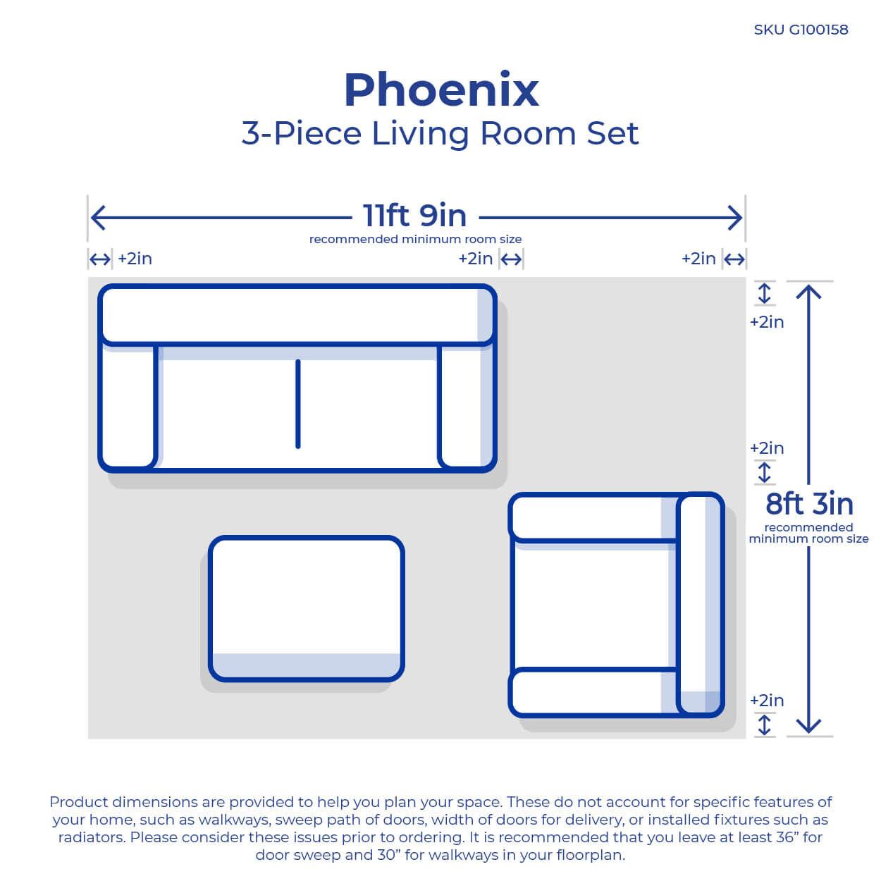 3 piece phoenix living room collection [ 1000 x 1000 Pixel ]