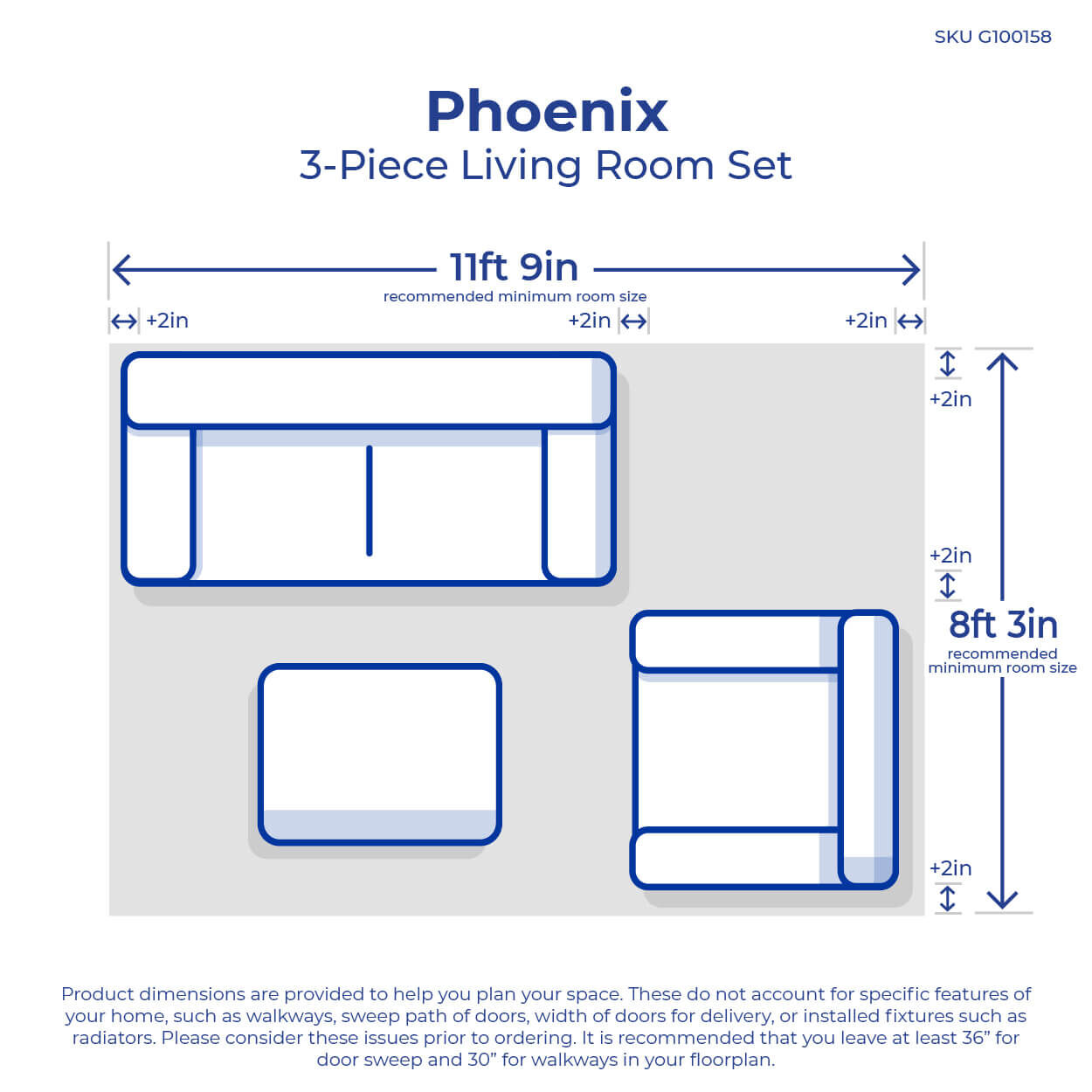 medium resolution of 3 piece phoenix living room collection