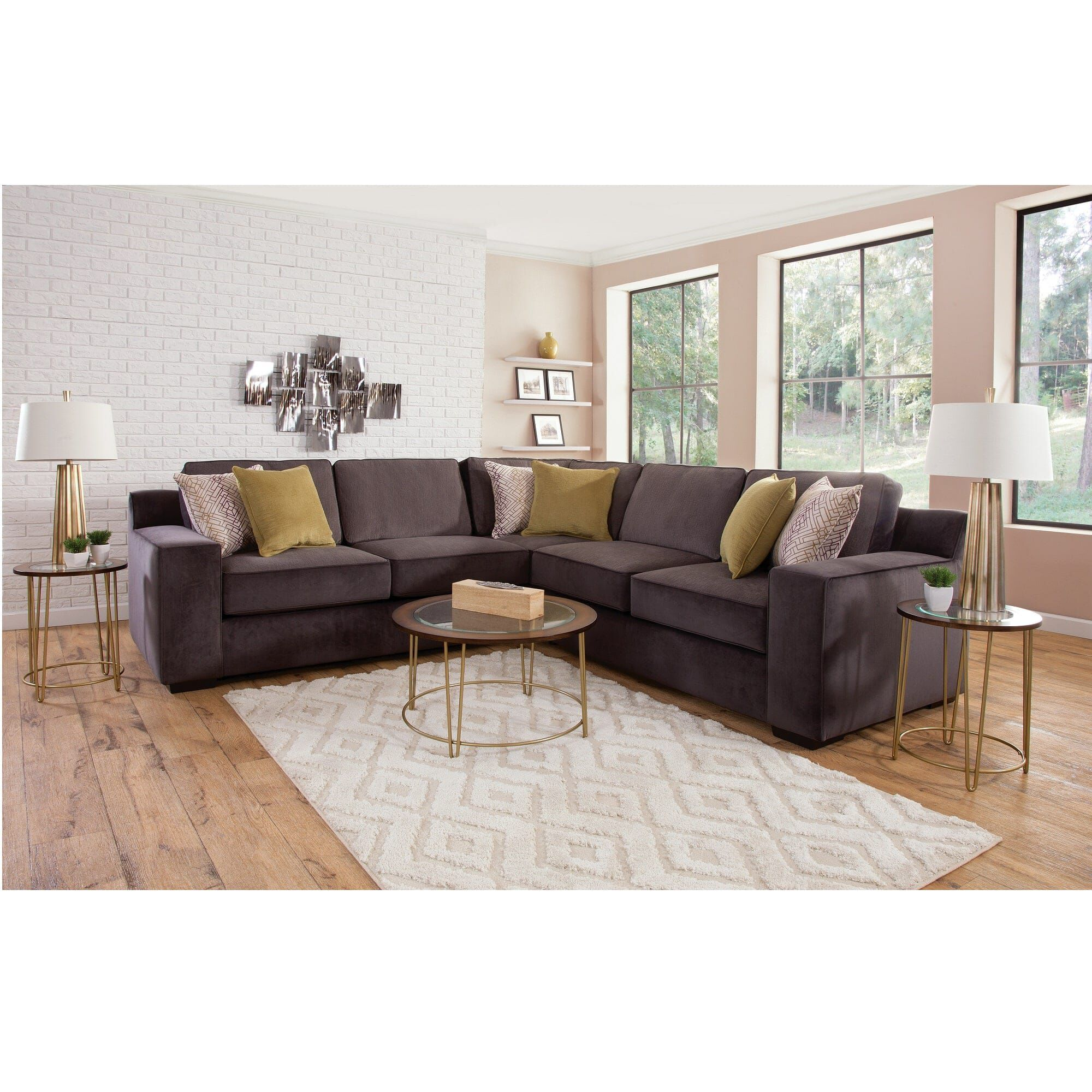 woodhaven living room furniture idea with brown couch industries sectionals 3 piece sonja collection