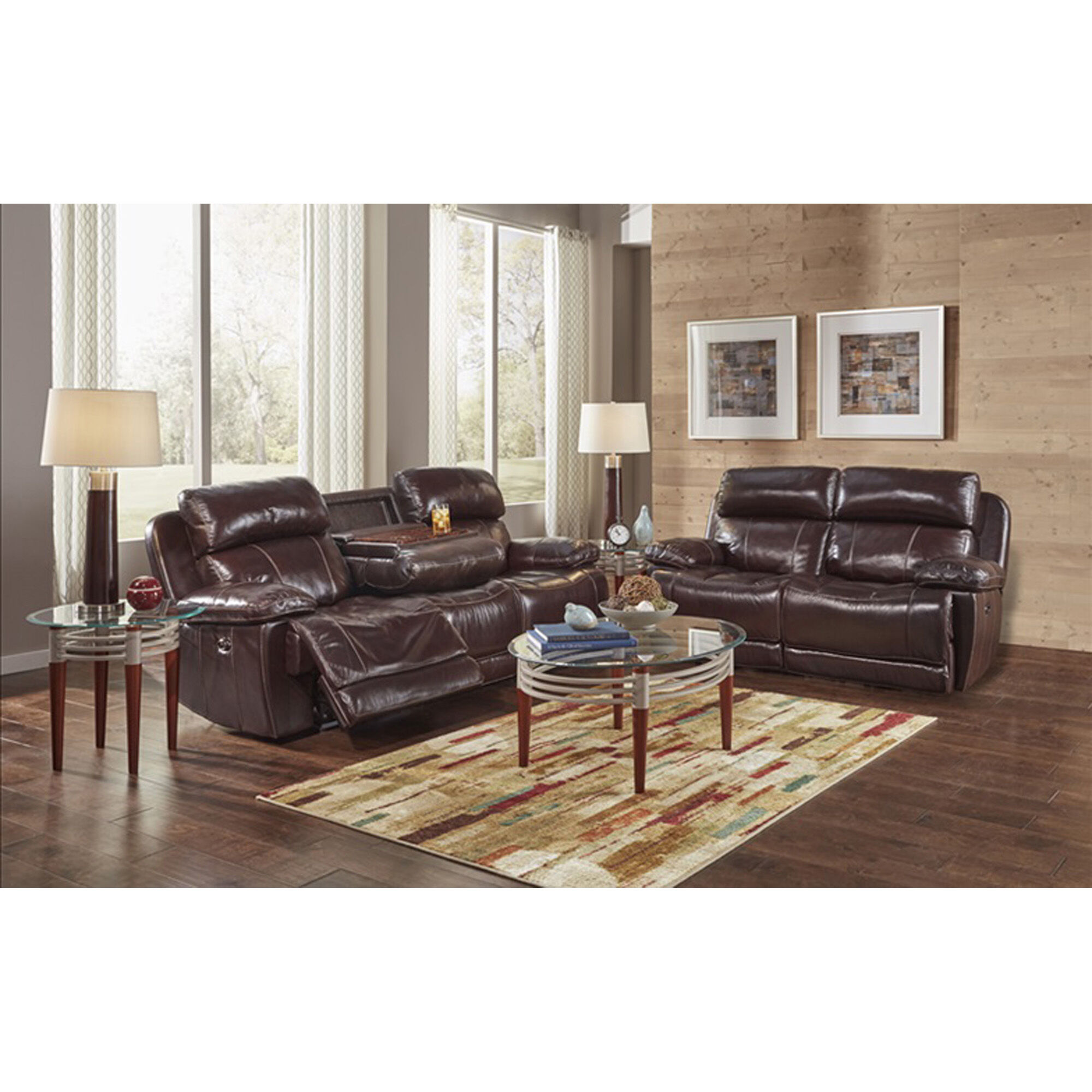 2 piece brown leather sofa clear table happy loveseat sets james reclining living room collection