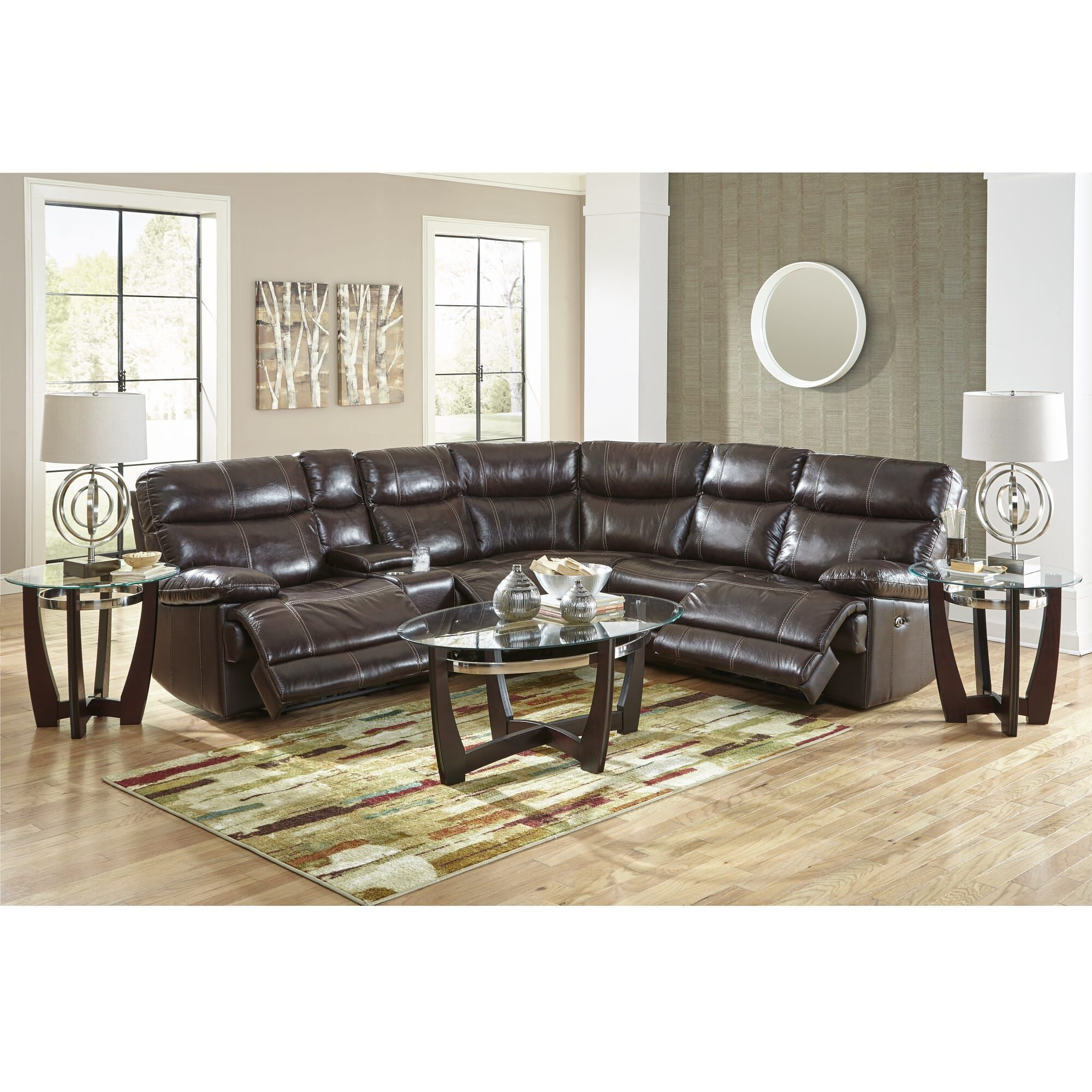 Happy Leather Sectional Sets 3 Piece Navarro Power