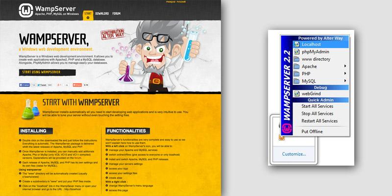 WAMP homepage and server window