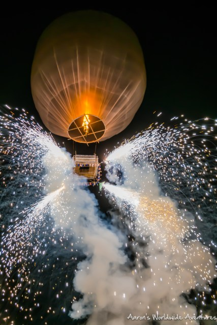 Fireworks from a hot air balloon