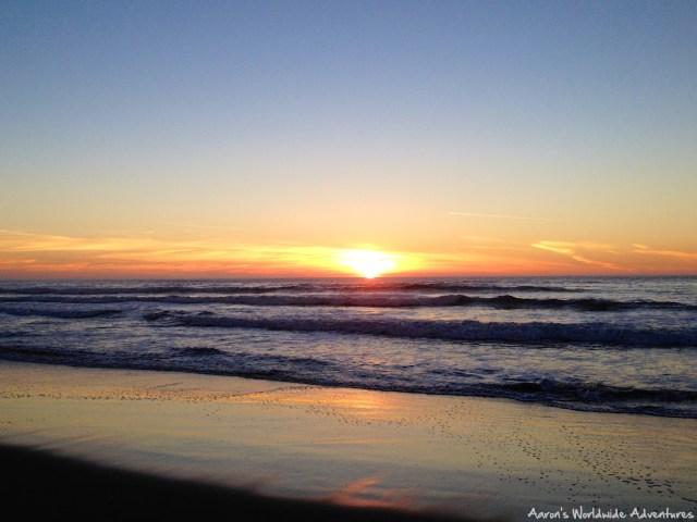 Sunset along the Pacific Ocean from San Francisco's Ocean Beach.