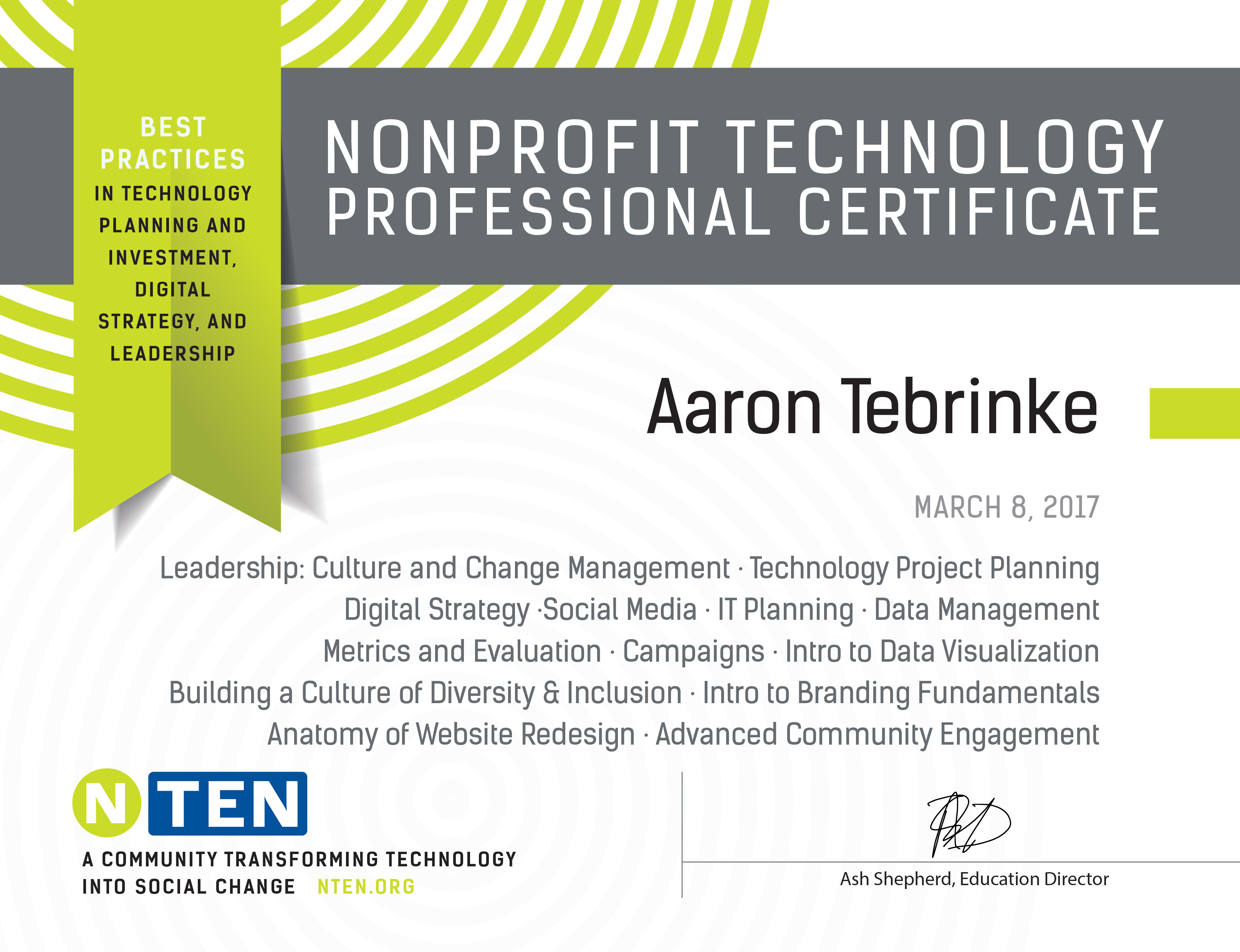 certification aaron tebrinke multimedia specialist