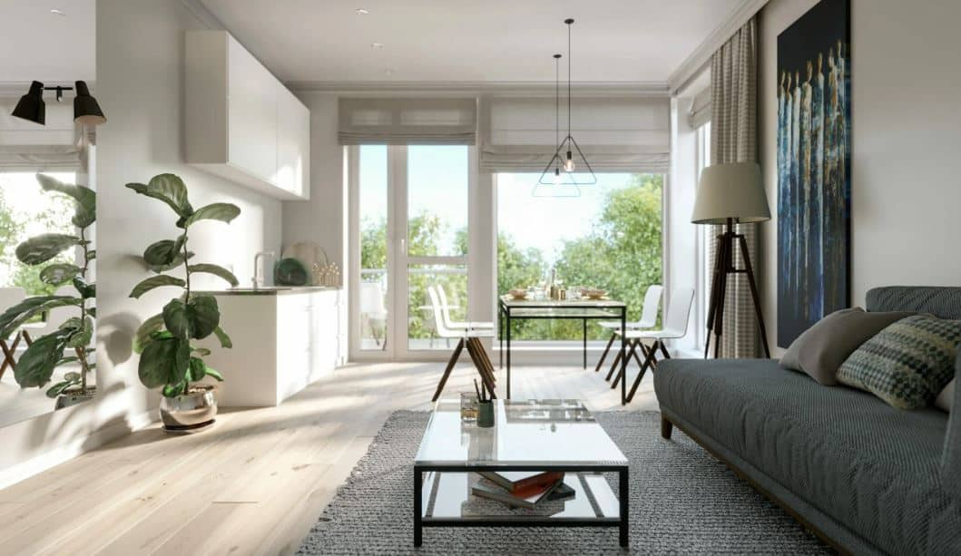 all white room with external view - Layout ideas for Studio apartments