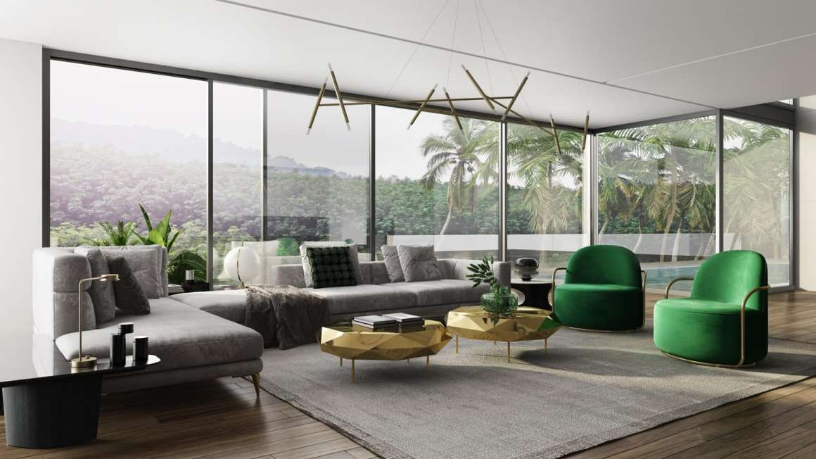 Large living room overlooking the forest - 5 marketing tips for an Interior Designer