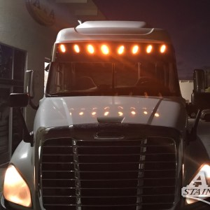 Visor V-Shape SS with 8 LED 3 Lines Angled - for Freightliner Cascadia  Part#: 030701.1.1.22227  $695