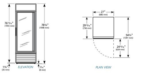 1 Door True Cooler, AA Store Fixtures, Used Coolers and
