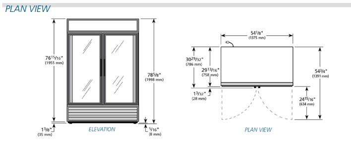 2 door true cooler, new, AA Store Fixtures