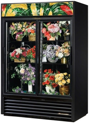glass door floral cooler flowers cold display glass