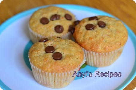 eggless bana-carr-alm muffins