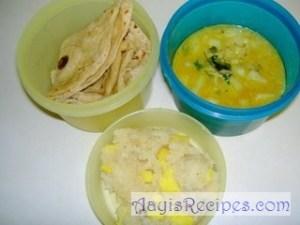 Lunchbox: Chapathi, Potato bhaji, Pineapple sheera