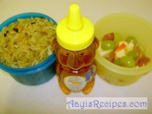 Lunchbox: Potato biryani and fruits