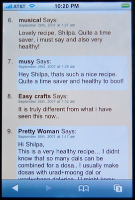 iPhone screenshot - Aayi's Recipes Comments