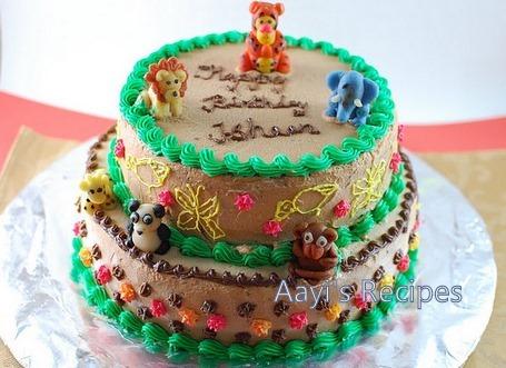 Pleasing Chocolate Cake First Birthday Jungle Cake Aayis Recipes Birthday Cards Printable Inklcafe Filternl