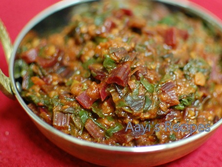 beetroot leaves masoor dal sidedish