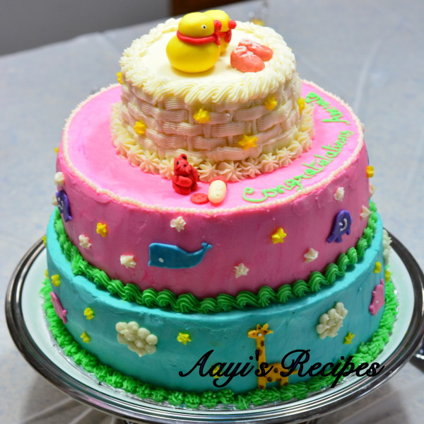 Animal Themed Cake For Baby Shower
