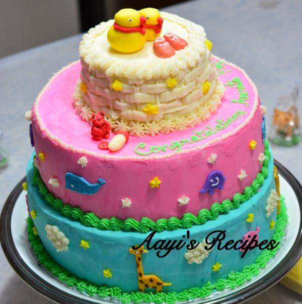animal themed baby shower cake1