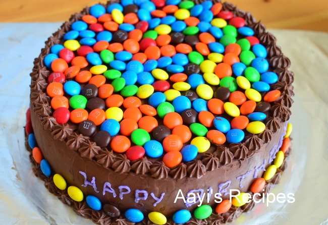 M Amp M Gems Cake With Chocolate Buttercream Aayis Recipes