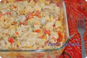 Baked Pasta With Chicken And Vegetables Casserole