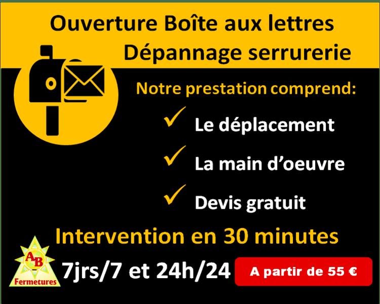 Ouverture de boîtes aux lettres Le Havre dès 55 euros - AB Fermetures serrurier Le Havre