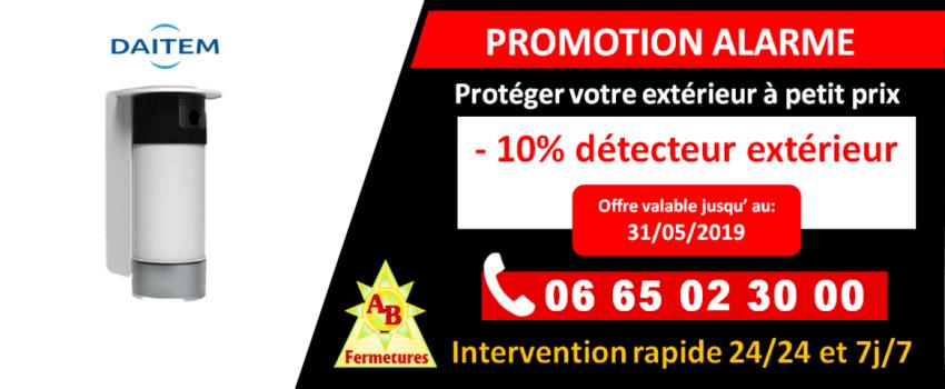 Promotion alarme - Remise de 10 sur la détection extérieure Daitem - AB Fermetures