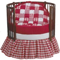 Bright Red Patchwork Round Crib Bedding Set - aBaby.com