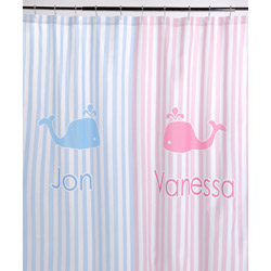 Blue Stripe Personalized Shower Curtain