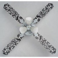 Black and White Damask Ceiling Fan