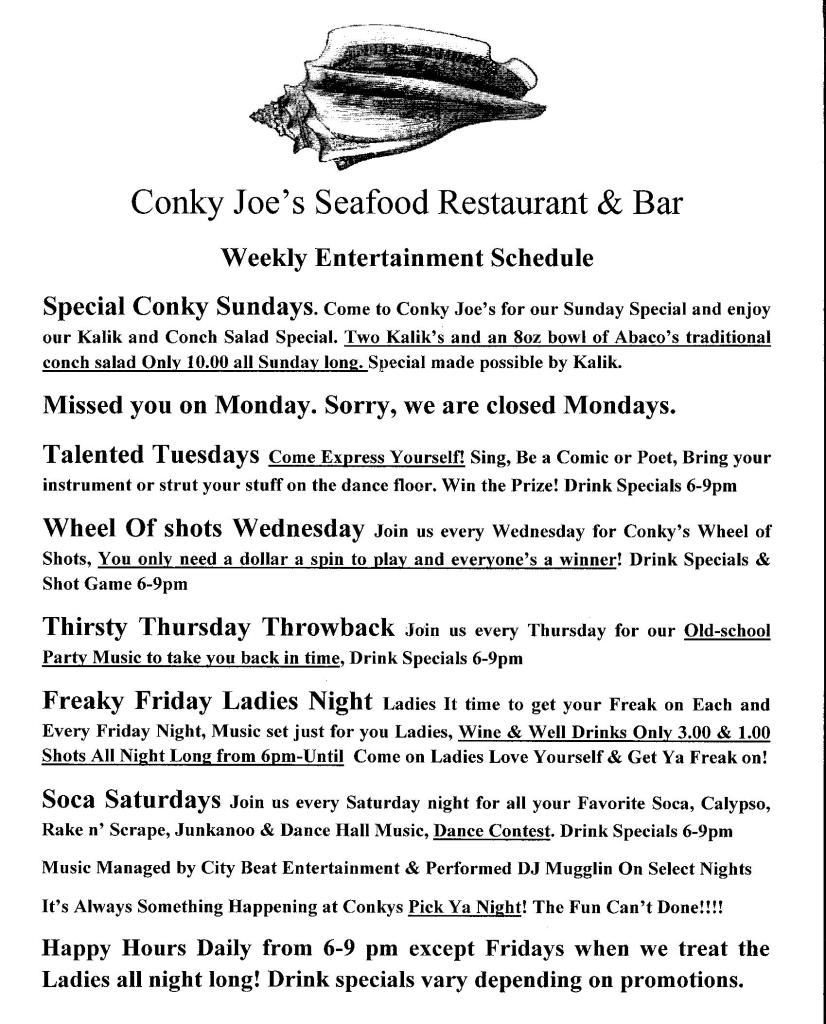 Conky Joe's Weekly Entertainment Schedule