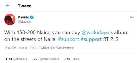 THROW BACK: Davido Begging his Fans to buy Wizkid's Album (Photo)