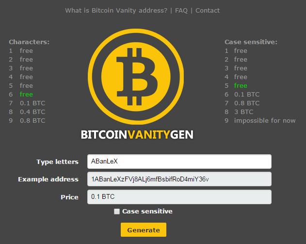 Bitcoin Vanity Gen