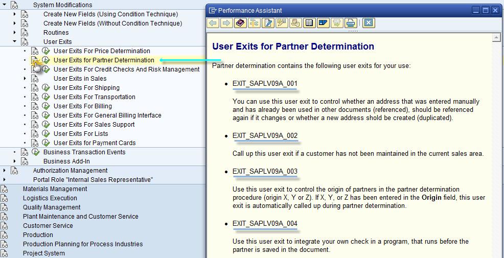 3. SD User Exit Documentation Via SPRO