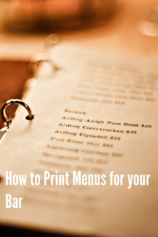 How to get your menus printed